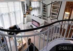 简约风格精装复式楼房客厅装修效果图2015