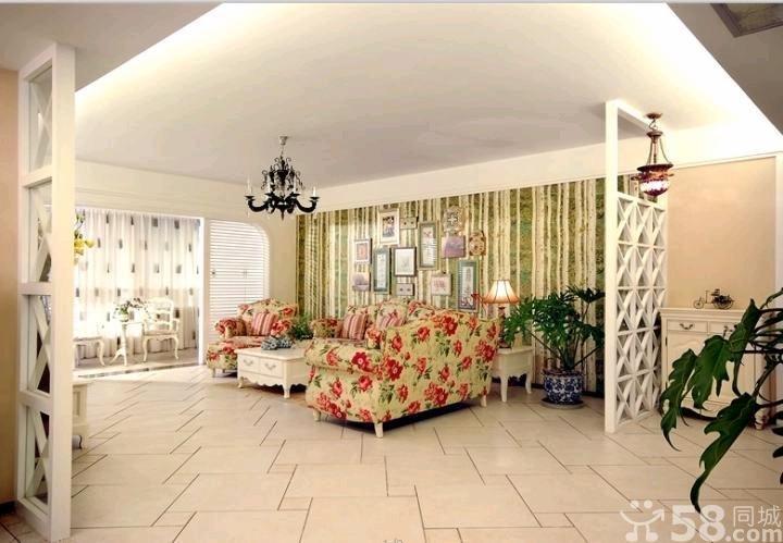 韩式田园风格客厅装修效果图