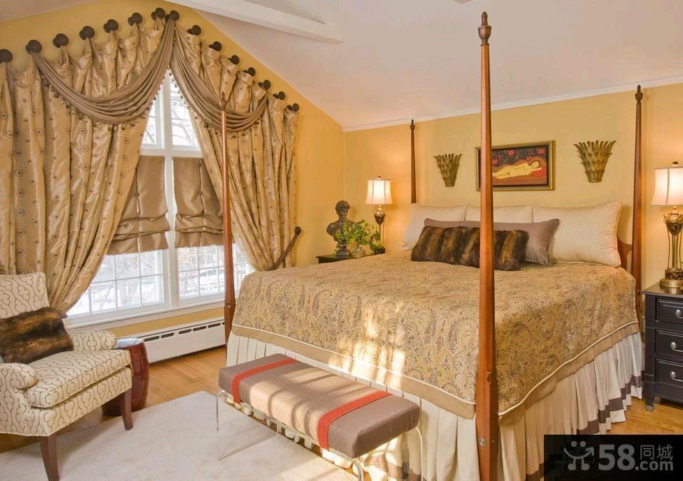欧式装修设计卧室窗帘图片欣赏