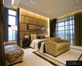 暖色调中式风格别墅卧室背景墙效果图