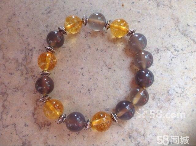 【图】天然黄水晶灰玛瑙搭配手链
