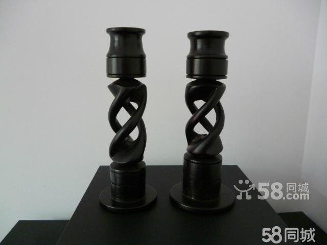 出售非洲坦桑尼亚手工黑木雕刻工艺品《蜡烛台》一对