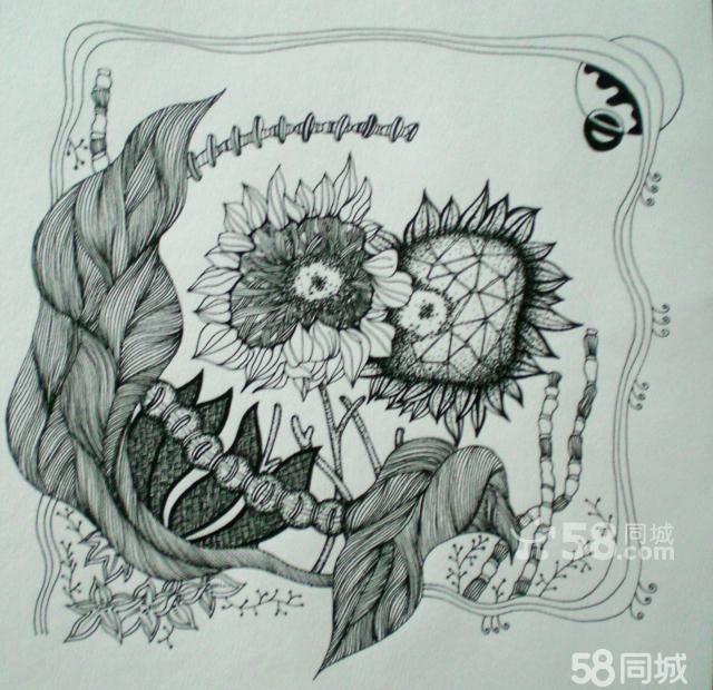 【图】纯手绘黑白装饰画
