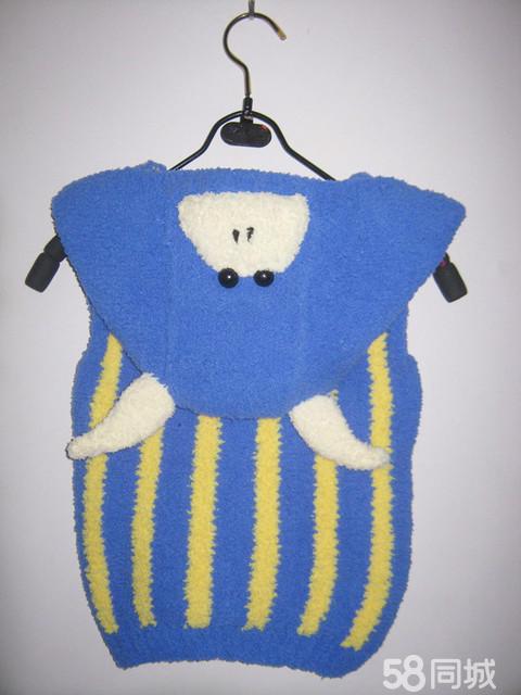 手工编织绒绒线卡通小牛宝宝马甲