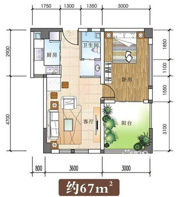 (出售) (出售)南岸东区莱茵河畔半岛公寓2室1厅1卫65.23㎡