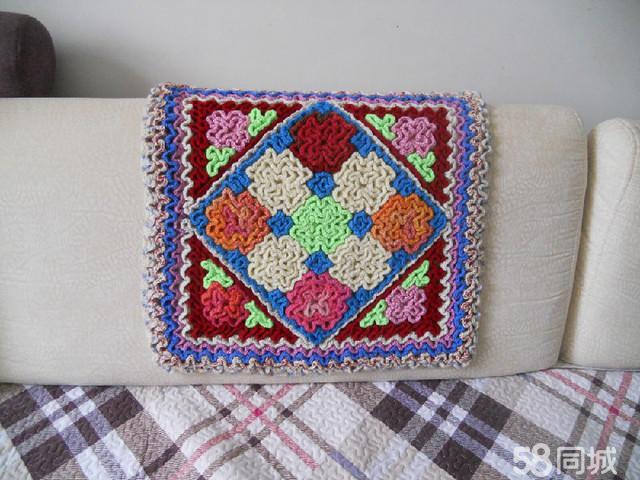 毛线编织沙发垫视频_手工编织沙发垫钩针坐垫diy详细 .