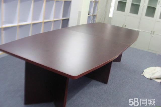 【图】出售九成新的钢化玻璃会议桌,时尚会议桌,黑木