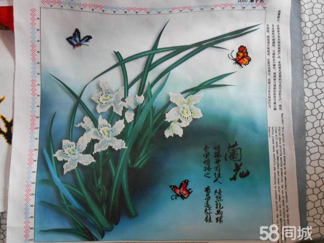 【图】3d十字绣成品君子兰紫色幽兰月下玉兰