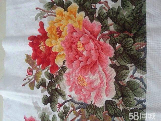 【图】成品花开富贵十字绣未表框出售