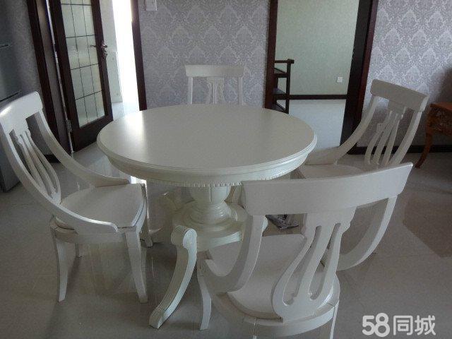 【图】全新实木欧式圆餐桌田园风格一桌四椅