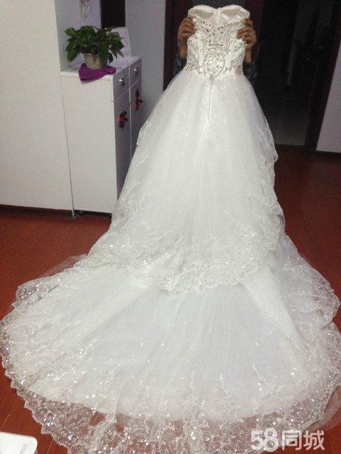 【图】韩版抹胸白色拖尾婚纱