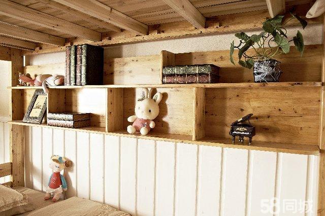 【图】儿童床带书架全实木柏木上下床高低床双层床子