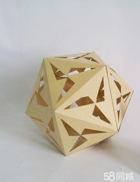 立体纸折镂空多面体