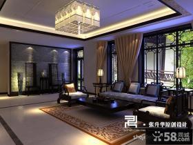 中式别墅窗帘图片 客厅背景墙装饰设计