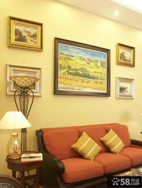 现代美式风格别墅客厅沙发背景墙效果图
