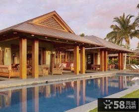 豪华东南亚风格一层乡村别墅设计效果图