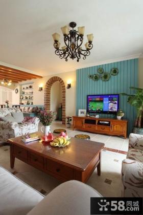 地中海客厅电视背景墙设计效果图