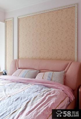 主卧室床头背景墙壁纸效果图