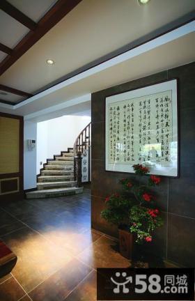 新中式别墅客厅玄关装饰画