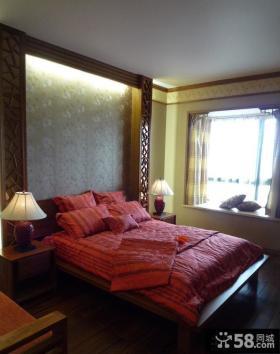 简约中式卧室背景墙效果图