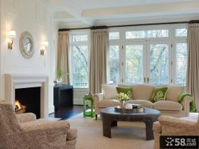 美式风格室内客厅窗帘效果图大全