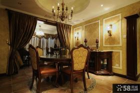 美式新古典风格餐厅拼花地板装修效果图