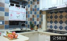 地中海风格厨房墙砖效果图片
