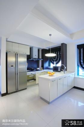 现代开放式厨房橱柜装修设计图