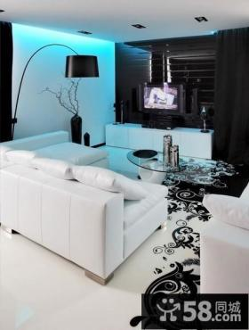 现代经典黑白别墅客厅电视墙效果图