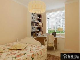 欧式田园风格卧室兼书房装修效果图