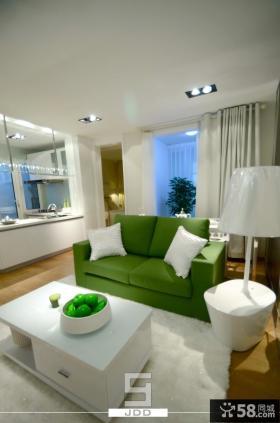青苹果主题现代简约小户型客厅装修