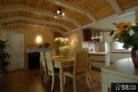 田园风格小户型餐厅木吊顶装修效果图
