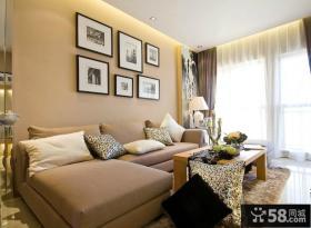 现代风格小复式客厅沙发背景墙挂画效果图