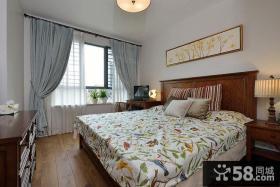 美式田园卧室遮光窗帘图片