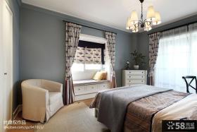 现代美式风格卧室飘窗窗帘设计