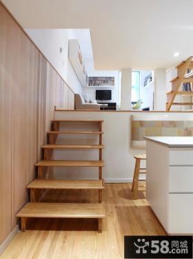 木质错层楼梯效果图