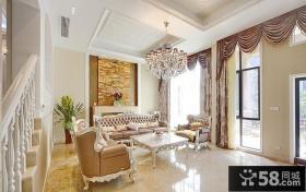 复式楼客厅吊顶沙发背景墙效果图