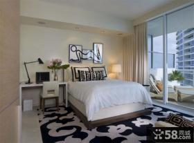 现代主卧室装修效果图大全2012图片 卧室落地窗采光装修设计