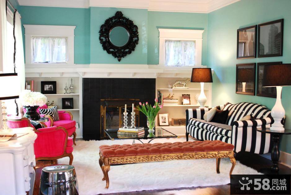 欧式风格客厅黑白条纹沙发图片