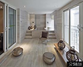 现代简约客厅封闭阳台设计效果图