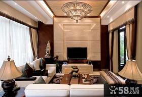 现代中式复式楼客厅装修效果图