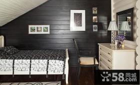 美式乡村别墅暗色调卧室装修效果图大全2012图片