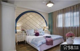 地中海风格卧室床头软包背景墙装修效果图