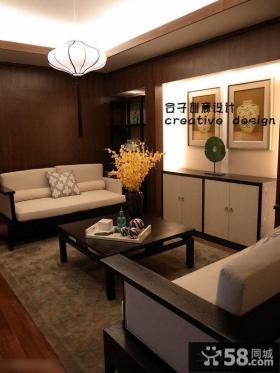 新中式小户型客厅实木茶几效果图片