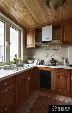美式乡村风格实木厨房装修效果图