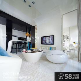 单身公寓客厅电视背景墙装修设计图