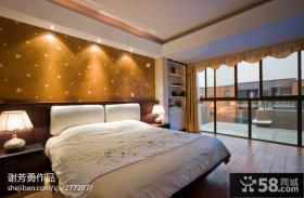 现代中式卧室阳台装修效果图