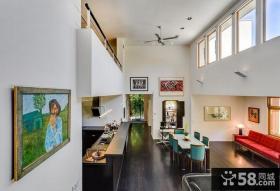 现代色彩明朗的复式楼开放式厨房装修效果图大全2014图片