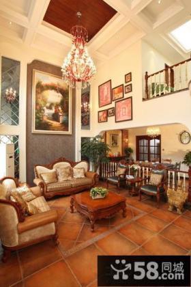 别墅客厅挑高吊顶装修效果图