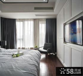 现代日式风格卧室电视背景墙图片